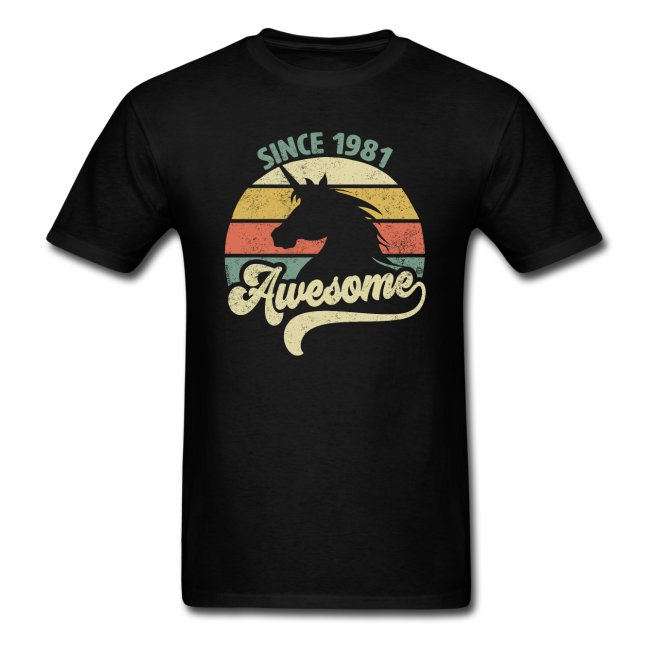 awesome since 1981 retro unicorn birthday gift shirts for men and women