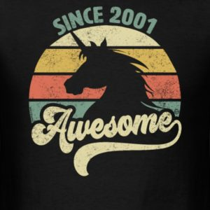 awesome since 2001 retro unicorn birthday gift shirts for men and women 1