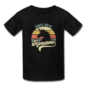 awesome since 2012 retro unicorn birthday gift shirts for men women youth and kids boys and girls