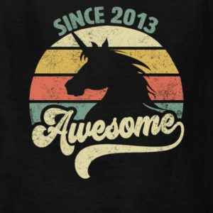 Awesome Since 2013 Retro Unicorn Birthday Gift Shirts for Men, Women, Youth and Kids (Boys & Girls)