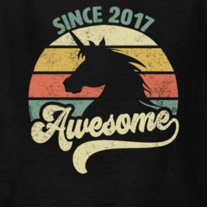 awesome since 2017 retro unicorn birthday gift shirts for men women youth and kids boys and girls 1