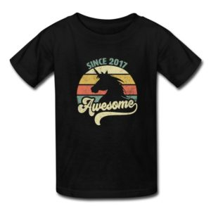awesome since 2017 retro unicorn birthday gift shirts for men women youth and kids boys and girls