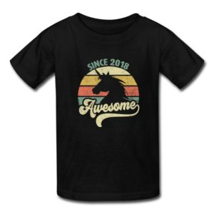 awesome since 2018 retro unicorn birthday gift shirts for men women kids boys and girls and babies