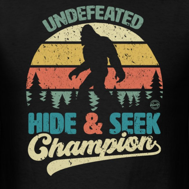 bigfoot undefeated hide seek champion funny sasquatch yeti clothing for men women boys girls youth and kids 1
