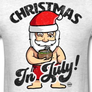 christmas in july funny santa claus graphic summer clothing for men women boys girls youth and kids 12