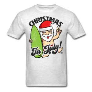 christmas in july funny santa claus graphic summer clothing for men women boys girls youth and kids