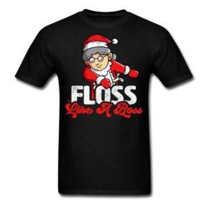 funny christmas floss like a boss mrs santa floss mrs santa shirts