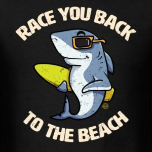 funny shark race you back to the beach summer sea vacation shirts