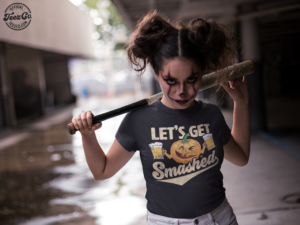 t shirt mockup of a woman wearing halloween makeup and staring at the camera