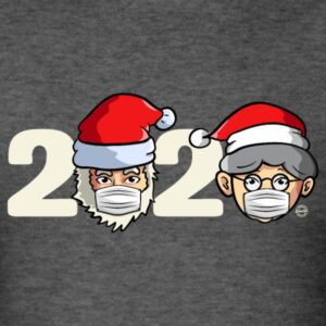 christmas santa claus and mrs claus with mask funny shirt and gifts for men women youth and kids boys and girls