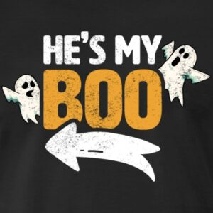 hes my boo cute funny matching couple halloween costumes shirts and gifts for men women youth and kids boys and girls